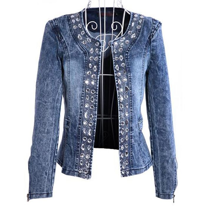 Shirt retro das mulheres da menina manga comprida Top Denim Jean Vintage Tops Blusa Jaqueta US $17.69