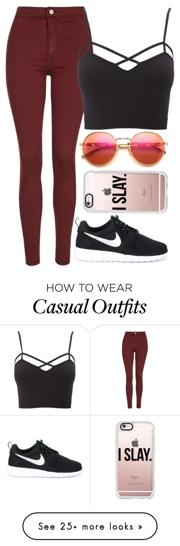 """Casual xx"" by eduardacardoso1999 on Polyvore featuring Topshop, Charlotte Russe, NIKE, Wildfox and Casetify"