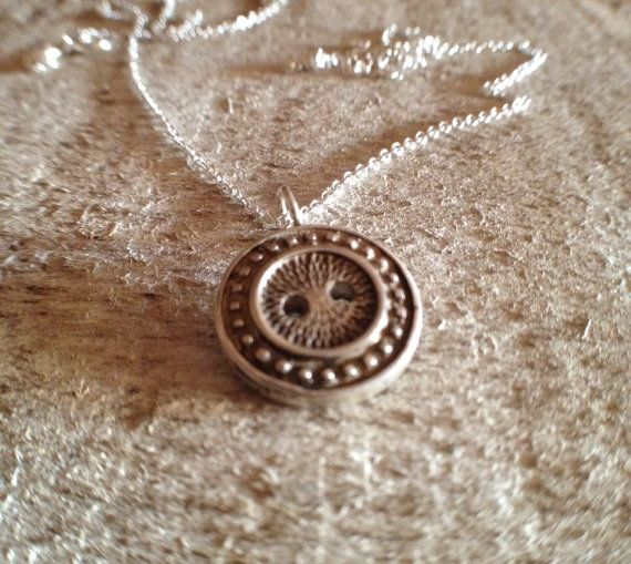 Sterling Silver Cast Button Charm Necklace
