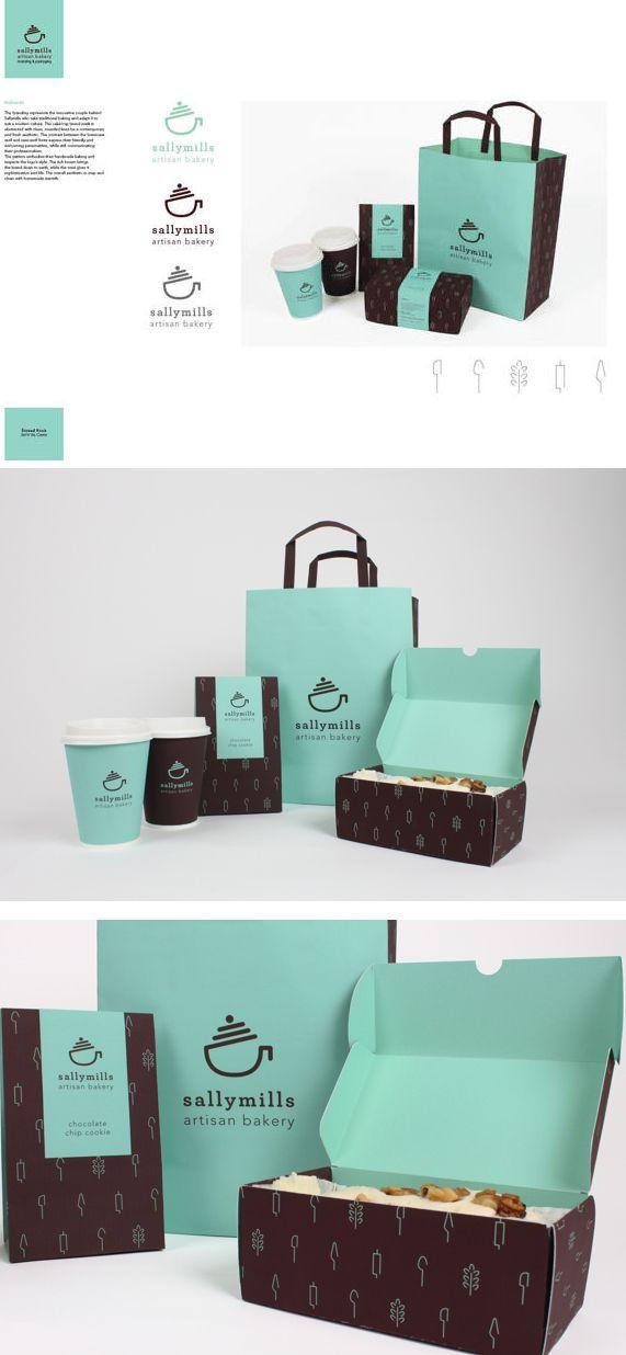 Sally Mills artisan baking branding by Sinead Kruis, via Behance cookies for breakfast #packaging PD