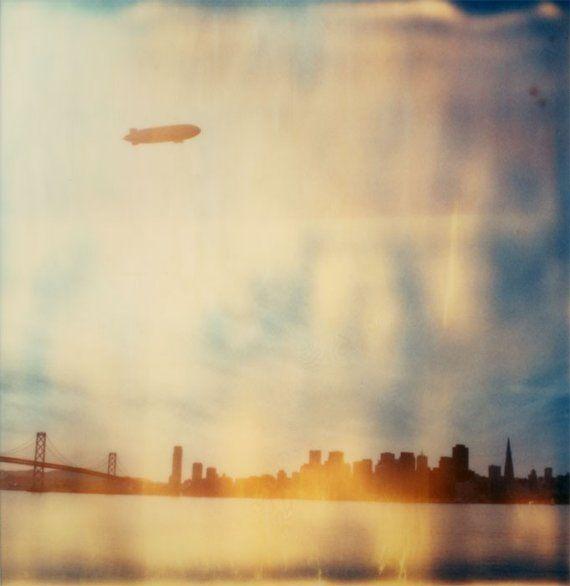 "This is a beautiful 8x8"" Glossy Print of Futurowoman's Original SX-70/Time-Zero Polaroid Photograph ""A Zeppelin Over San Francisco"" $35 @  http://www.etsy.com/listing/37059260/polaroid-print-8x8-zeppelin-over-san"
