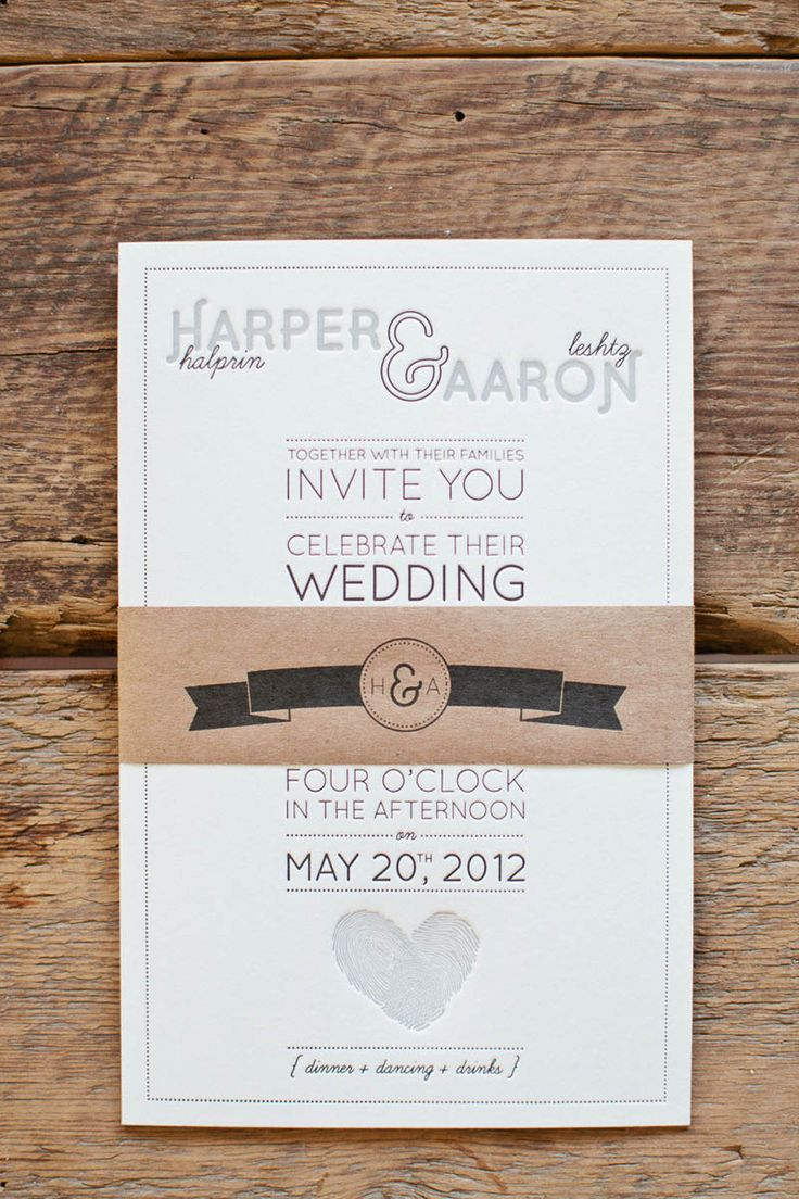 address wedding invitation unmarried couple%0A Aaron   Harper u    s Fingerprint Heart Wedding Invitations