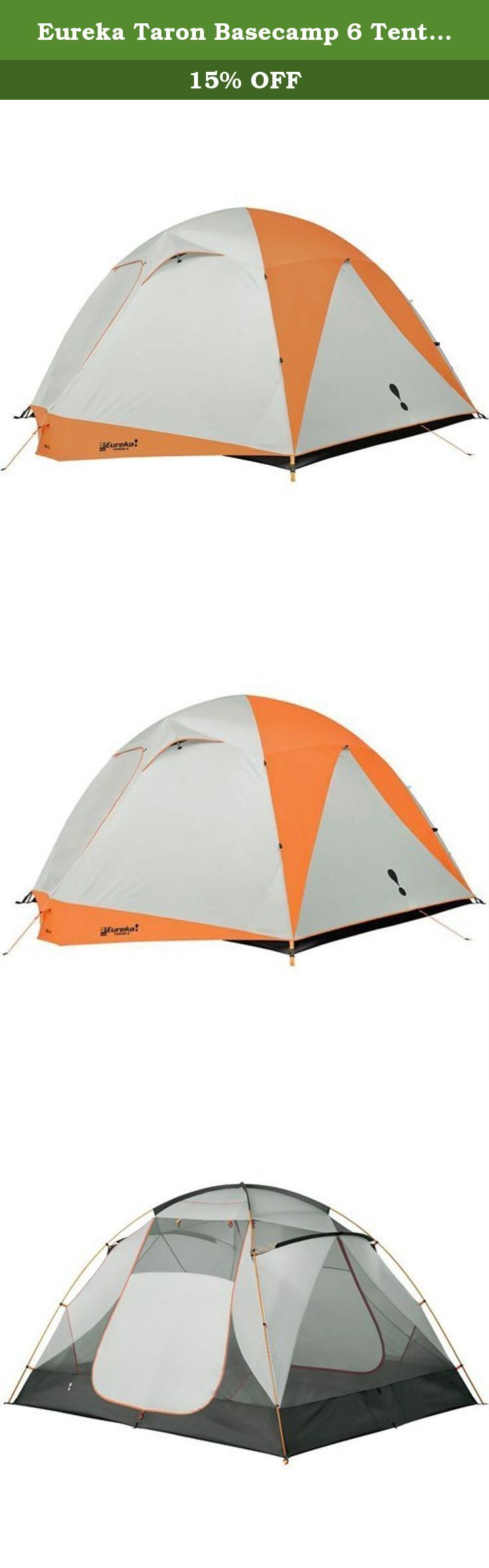 Eureka Taron Basecamp 6 Tent - 6 Person. The Taron Basecamp 6 Tent is a Eureka 6 person tent that has 2 doors and 2 vestibules for storing excess gear. This base camp tent makes a great family tent. Eureka has enhanced the livability of this tent with the V3 system. The new V3 Enhanced Tent System increases ventilation, volume, and end user versatility by maximizing frame, fly, tent body, and guy-out design features. It includes a full coverage fly that protects the tent from the worst...