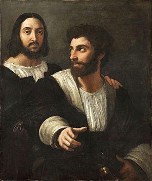 Self-Portrait with a Friend - Raphael.  1518-20.  Oil on canvas.  99 x 83 cm.  Musee du Louvre, Paris, France.