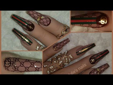 easy gucci nail art guccinails guccistickers  youtube