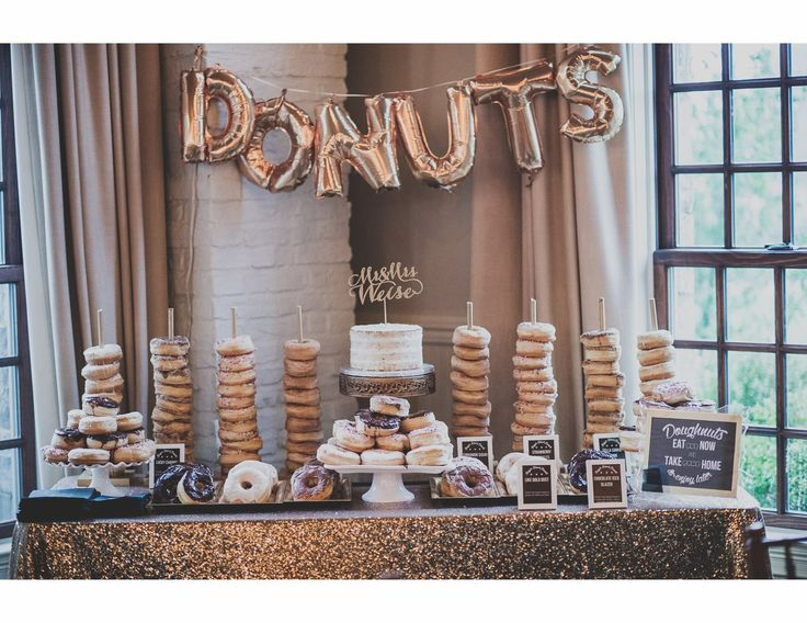 """A sign saying """"Go nuts for donuts!"""" would be cute"""