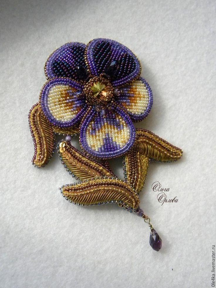 Купить Анютка - фиолетовый, ольга орлова, анютины глазки, брошь-цветок, канитель, пайетки