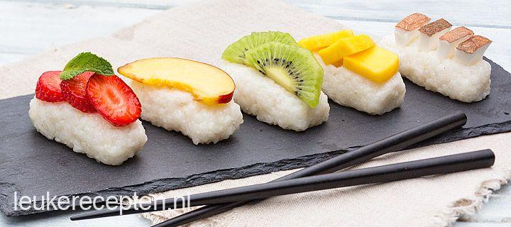 Recept - dessert sushi met fruit - met Beekers Berries zachtfruit