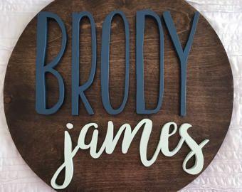 Nursery Decor, Nursery Ideas, Boys Room, Round Name Sign, Wood Sign