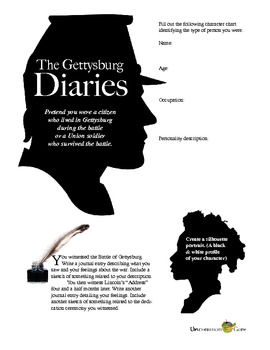"""The Gettysburg Diaries: This journal writing activity will help your students """"be present"""" at one of the bloodiest battles in Civil War and at one of Lincoln's greatest speeches """"The Gettysburg Address."""" They will create a biographical sketch for someone who lived in the time period and record his or her impressions of both events with words and sketches.  Suitable for history and English teachers, this lesson covers Common Core State Standards for narrative writing."""