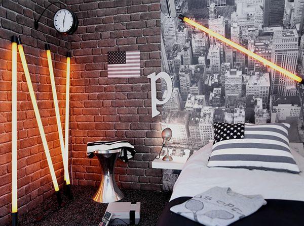deco chambre new york ado fluo