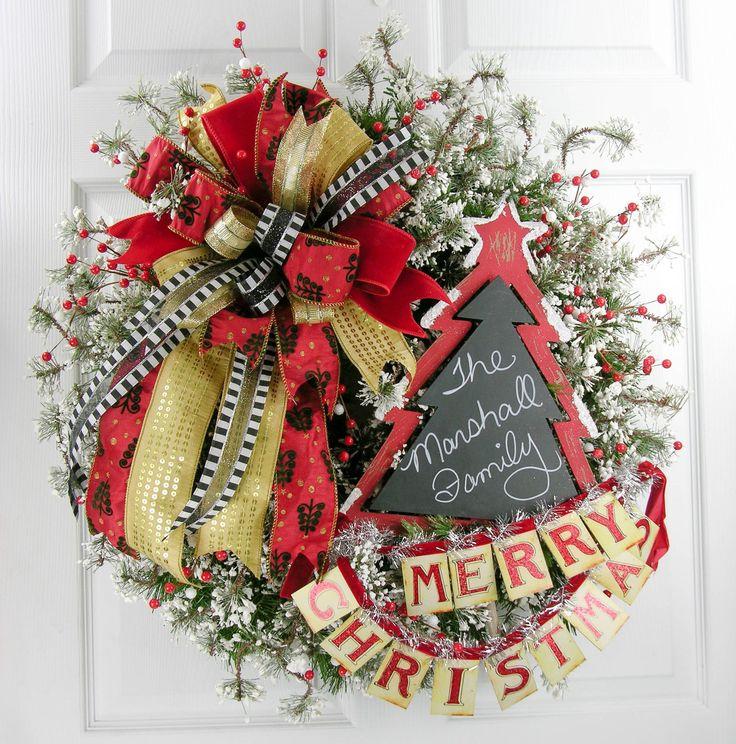 Chalkboard Merry Christmas Wreath