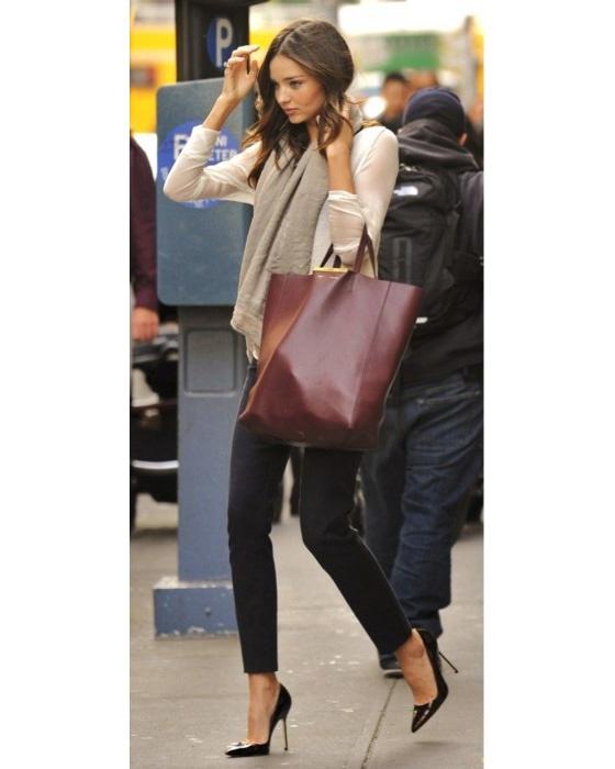 Miranda Kerr, burgundy bag, Celine Cabas tote | Wear me out ...