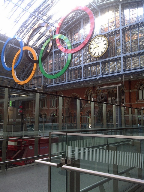 olympic rings in st pancras train station london uk