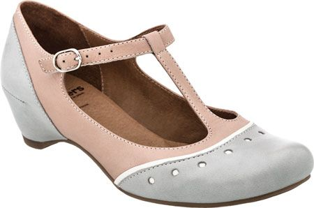 Shop 1920s Style Shoes in casual and modern grey and pink almost flats. LOVE! $199 #1920sfashion #1920sshoes #shoes
