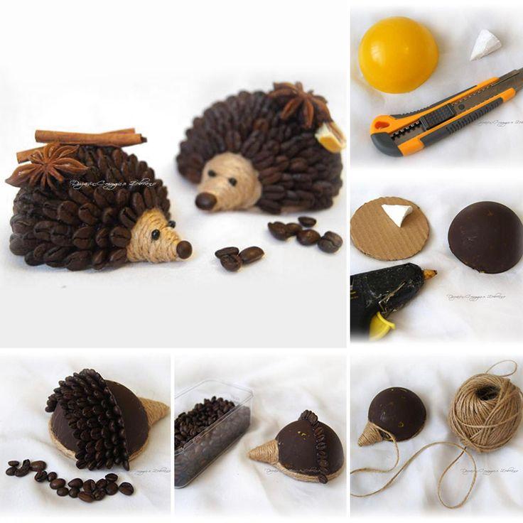 Coffee hedgehog tutorial / Делаем ароматных кофейных ёжиков