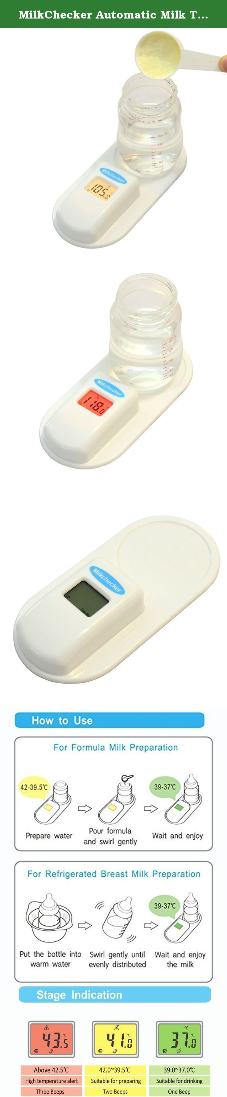 MilkChecker Automatic Milk Temperature Monitor Ideal for Measuring Breast Milk & Formula Milk Temperature with Non-Contact Infrared Thermometer for Accurate Temperature Reading for Moms. Milkchecker is specially designed for getting accurate feeding bottle temperature measurements while preparing formula or warming refrigerated breast milk for infants. It prevents low and high temperature milk when feeding babies. Operating the Milkchecker is simple. For formula milk put warm milk in a...
