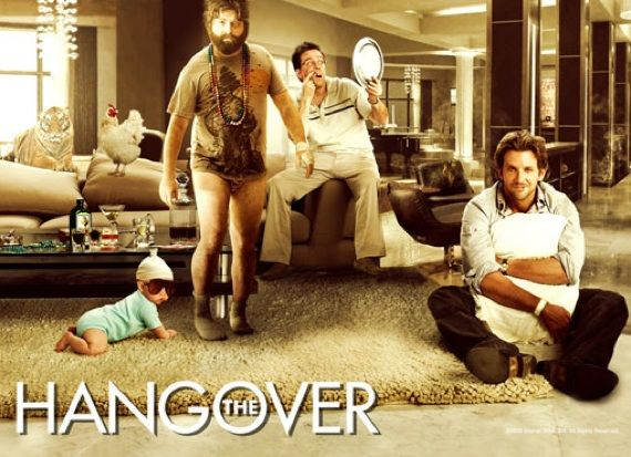 """The Hangover"" is a comedy that tells the story of four friends that go to Vegas for a bachelor party but have no memory of what happened that night and are on a mission to find where their friend Doug is.     http://www.youtube.com/watch?v=vhFVZsk3XEs"