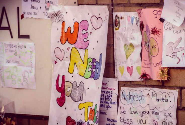 Messages for Madiba on a wall outside the Medi-Clinic Heart Hospital in Pretoria. Picture: Tyrone Noble