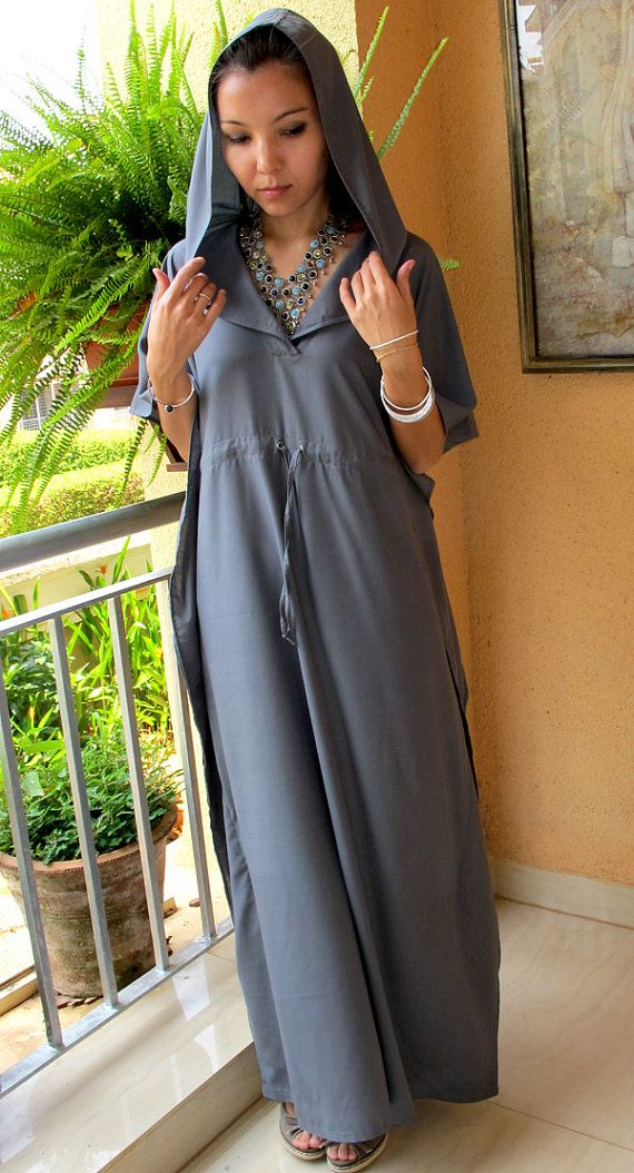 Dark Gray hooded maxi dress, sundress. beach cover up, lounge wear, cruise wear, long caftan, maternity wear Colors Available