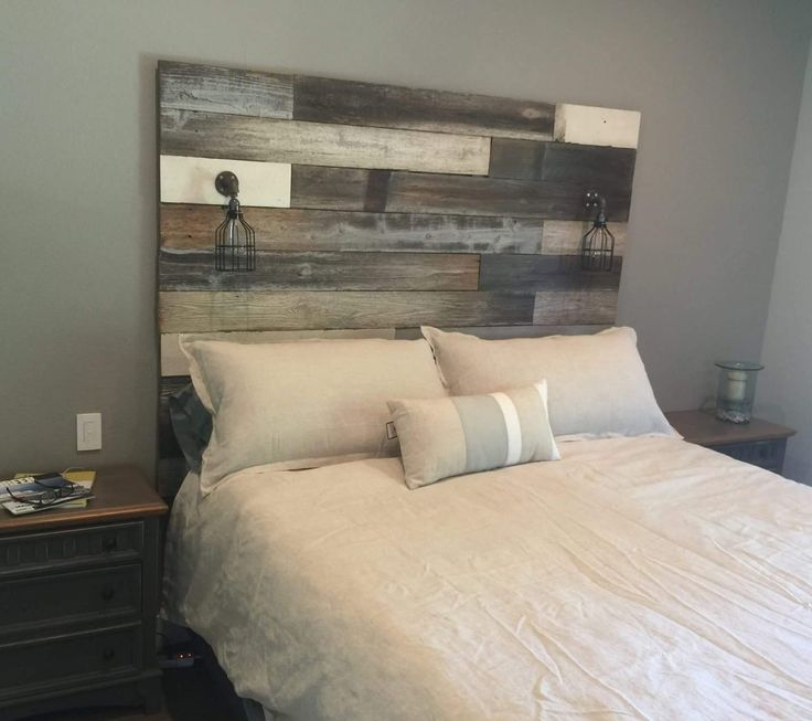 Reclaimed wood headboard the image kid for Recycled headboards