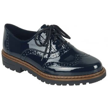A key look for the season - masculine styling with a feminine twist - is delivered in these beautiful women's brogues. Classic Navy patent leather shoe with fashionable style combines classic punched detailing with a simple lace fastening. http://www.marshallshoes.co.uk/womens-c2/rieker-womens-softlack-navy-patent-lace-up-brogue-shoe-54812-45-p3880