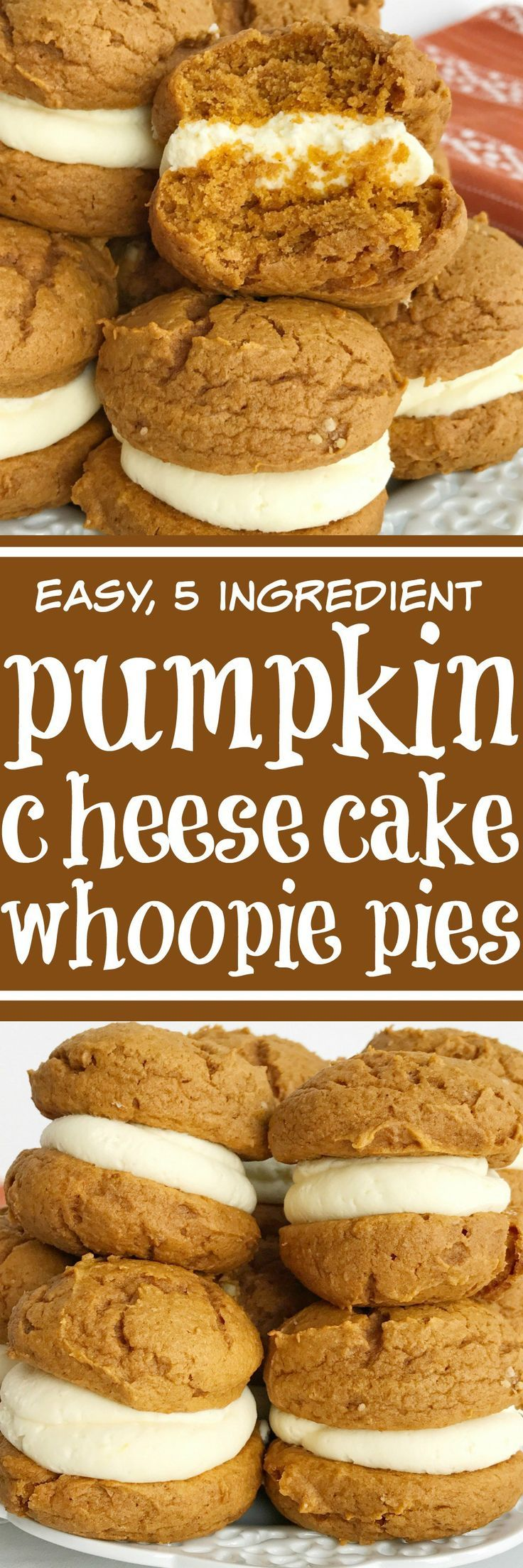 You only need 5 ingredients for the best pumpkin dessert of Fall; pumpkin cheesecake whoopie pies. Fluffy & sweet cheesecake whipped cream in between two soft pumpkin cookies. Not only are these so easy but they will disappear just as fast | togetherasfamily.com