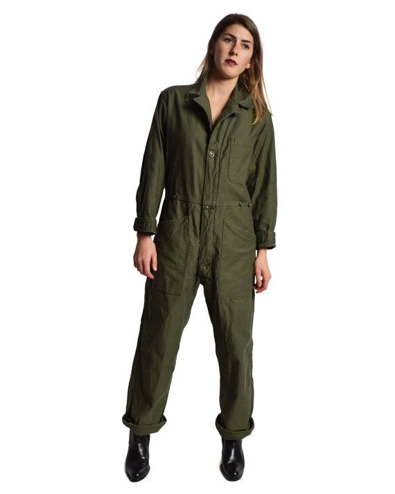 Army Green US Flight Suit Vintage Mechanic Coveralls Boiler Suit Work Wear Jumpsuit Romper Onesie Military M L