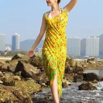 Women Lady Girls Summer Chiffon Floral Print Beach Gowns Long Sun Protaction Shawl Beach Towel at Banggood