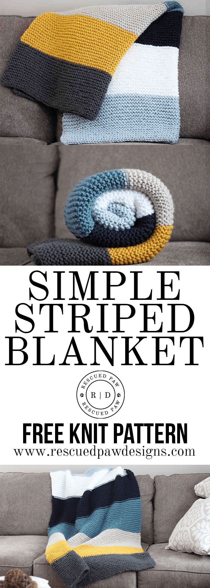 Simple Striped Blanket - Free Knit Pattern by Rescued Paw Designs - Beginner Friendly!
