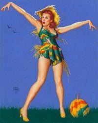 Earl Moran (American, 1893-1984) Scarecrow, Brown & Bigelow calendar illustration Pastel on board