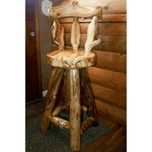 Our solid aspen log bar stool.  Made by hand in America.