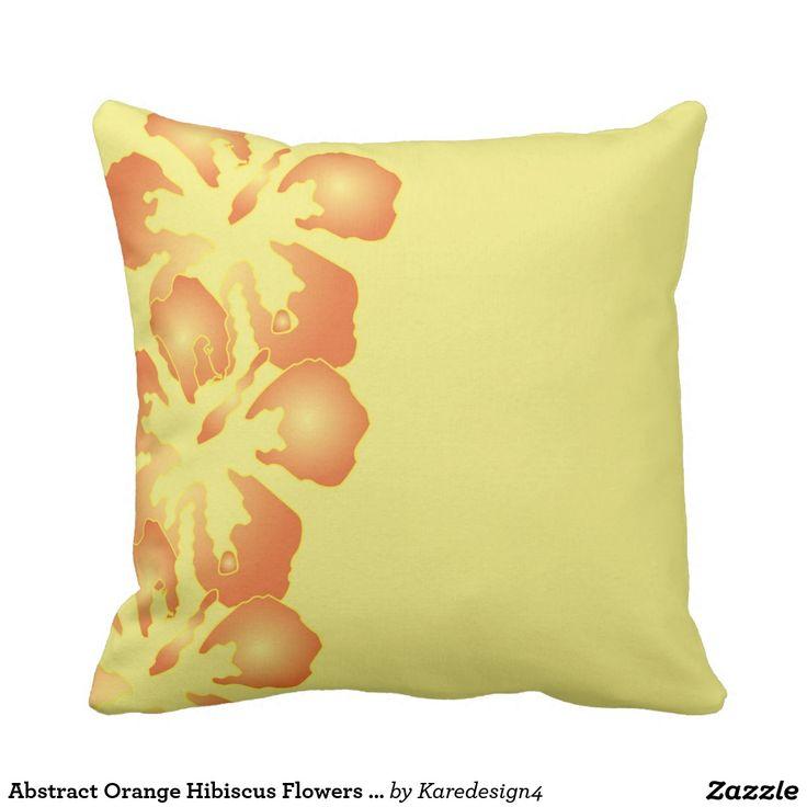 Sofa Sleeper Abstract Orange Hibiscus Flowers on Yellow Throw Pillow
