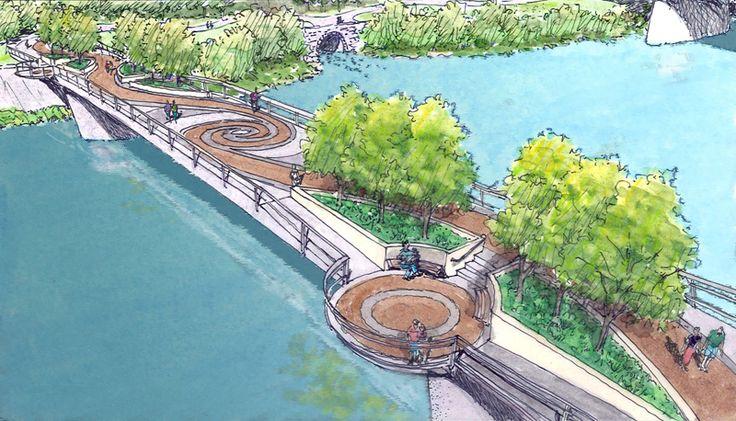 Amsterdam, NY   Pedestrian Bridge Concepts   Design #2 Park Over the River - Straight