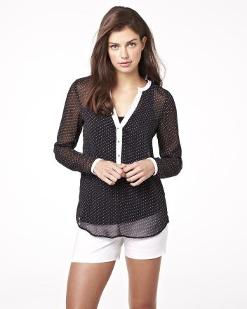 Chiffon pin dot blouse in black and white Summer 2013 Collection