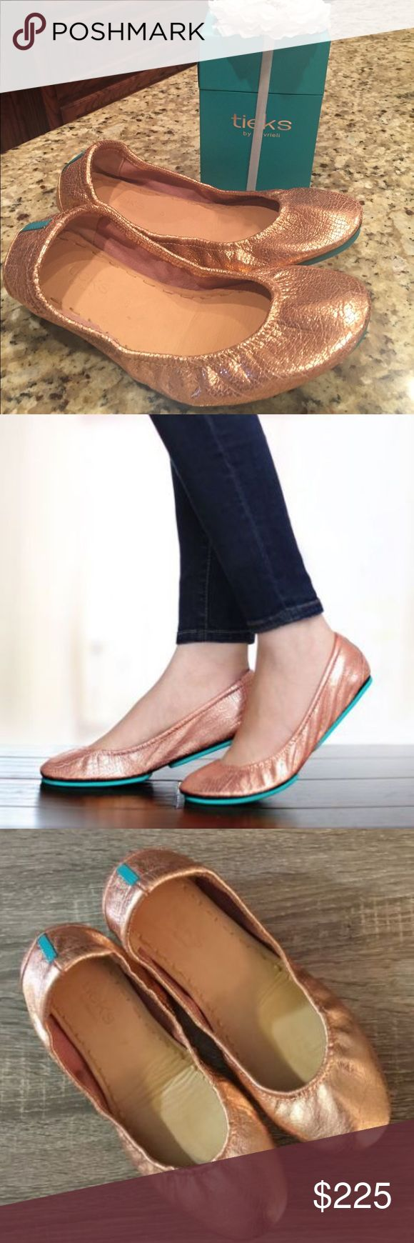 Rose Gold Glam Tieks--Brand new! Rose gold Tieks-brand new with box, flower, bag and pouch. Size 38. Tieks Shoes Flats & Loafers