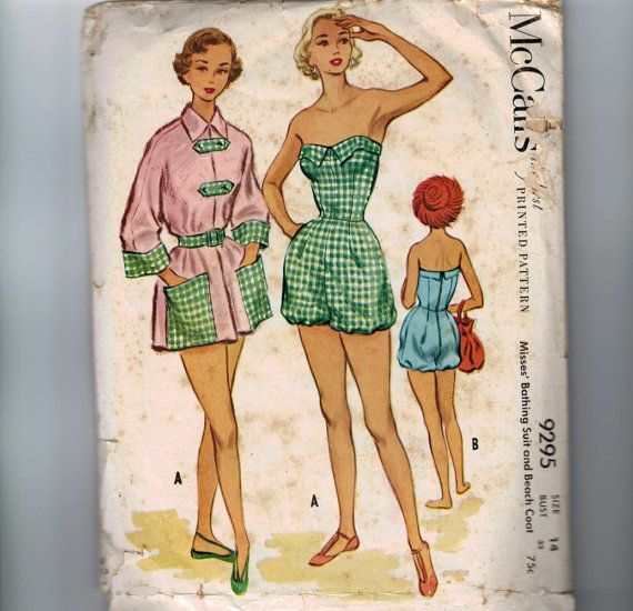 1950s Vintage Sewing Pattern McCalls 9295 Misses Bathing Suit Swimsuit Beach Coat Coverup Size 14 Bust 32 1953 50s