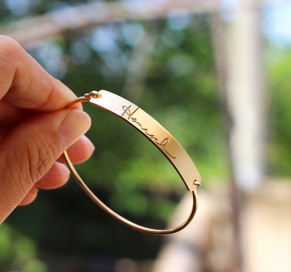 Signature Engraving Bar Bracelet - Handwriting Bangle - Keepsake Signature - Sterling Silver / 18K Gold Plated