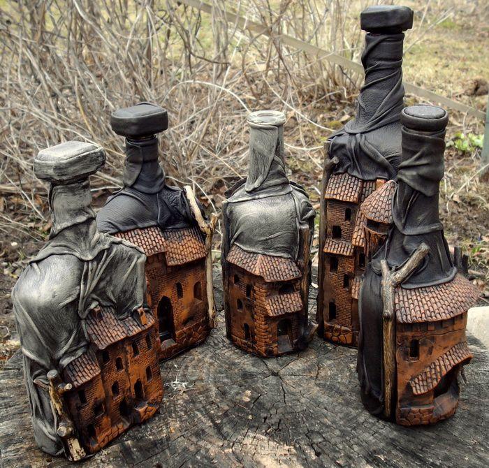 """декоративные бутылки-""""города"""" - глина+кожа - шедевр!"""