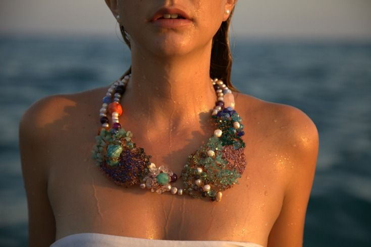 A piece of the sea necklace made of pearls, coloured glass, gems and shells by Palizzi