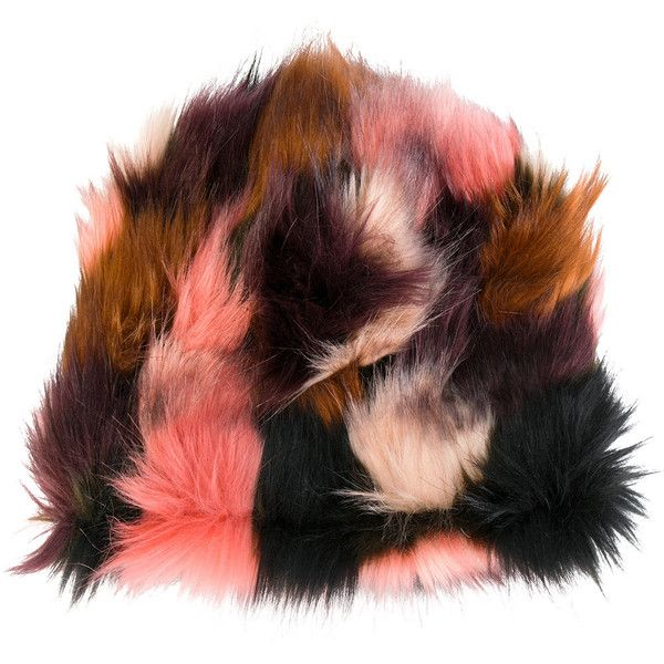 Faliero Sarti faux fur hat ($124) ❤ liked on Polyvore featuring accessories, hats, colorful hats, faux fur hats, purple hat, pink hats and fake fur hats