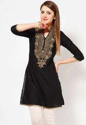 Golden Motif Embroidered Black 3/4th Sleeve Kurta