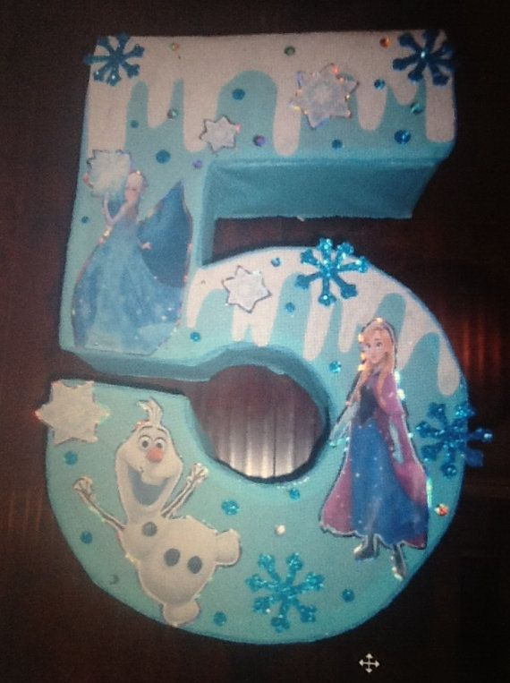 Frozen themed piñata. Frozen number pinata.