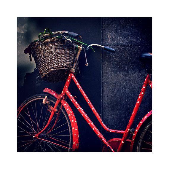 Amsterdam red Dutch bike / wall decor / fine art photography /  color photo / street photography / home decor print / original artwork