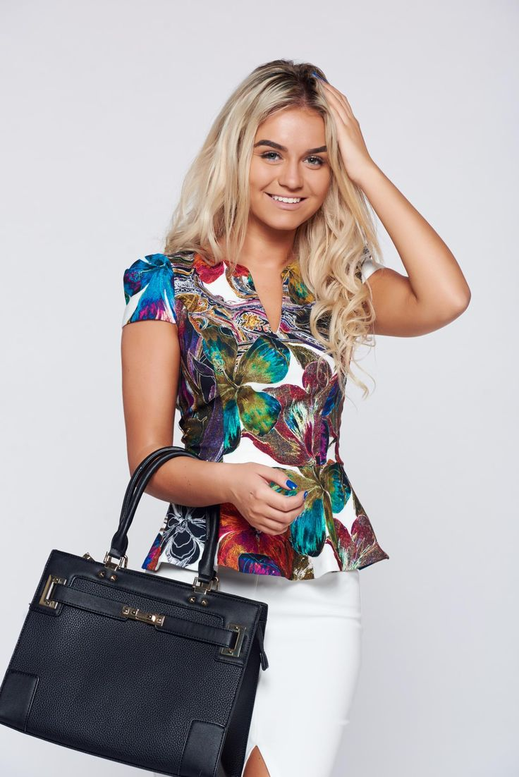 "Fofy green women`s blouse with a cleavage with floral print, women`s blouse, short sleeves, ""V"" cleavage, floral prints, slightly elastic fabric"