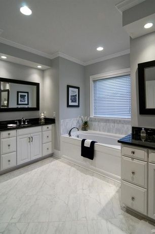 Transitional Master Bathroom with Centaur granite countertops black galaxy / counter top blank with eased edge, Soapstone
