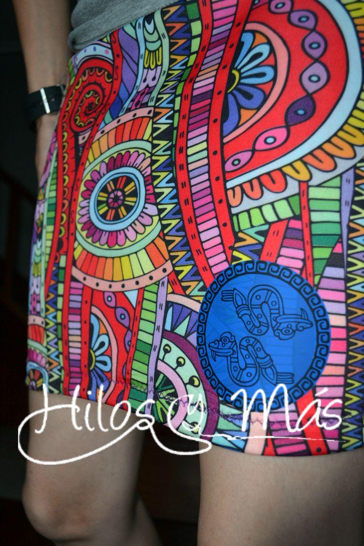 Hilos y Más - falda azteca #rums #vinilotextil #silhouette #mujer #ottobre