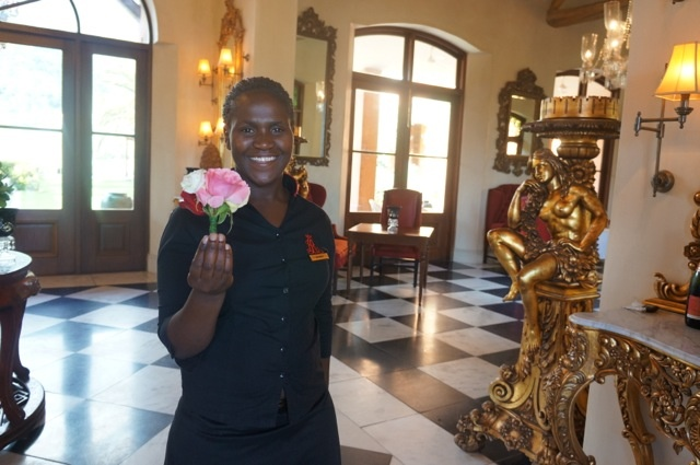 Weekend at the beautiful La Residence in Franschhoek: I got a little bouquet of flowers when I walked in. www.travelifemagazine.com