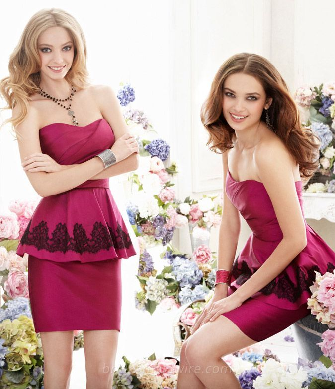 Magenta Taffeta Strapless Short Pencil Bridesmaid Dress with Peplum