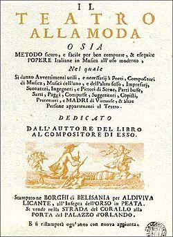 Frontispiece of Il teatro alla moda - Antonio Vivaldi